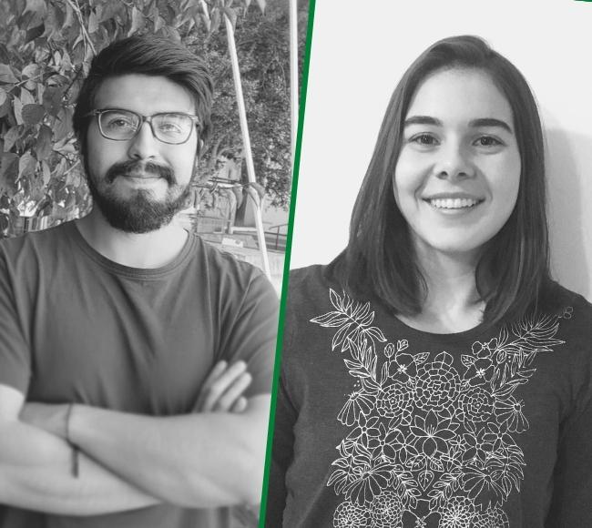 Gabriel Bernales y Camila Pavesi, estudiantes seleccionados en el Concurso ANID Becas de Magister Nacional 2021